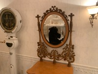 Antique Victorian Ornate Wicker Vanity With Mirror - 3