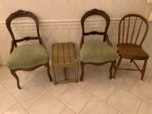Vintage Chairs With Bench Lot