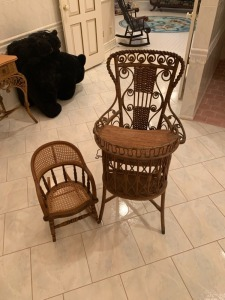 Antique Victorian Wicker High Chair And Rocker - Heywood Wakefield