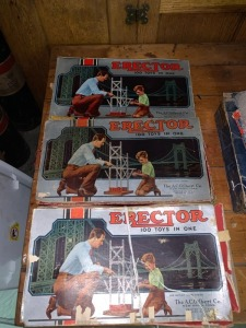(3) Antique Erector Set Toys Lot