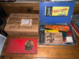 Antique Toys Lot - Erector/Gilbert Tool Chest