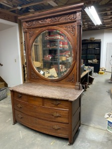 "Antique Victorian ""His"" Dresser With Mirror - Mahogany"