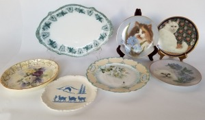 Vintage Platter And Plates Lot -Cats