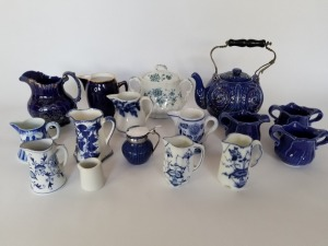 Antique Blue And White Transferware Pitchers Lot