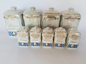 Antique Spice and Canister Set - German Luster Ware