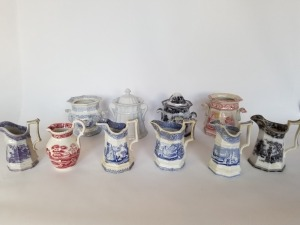 (10) Antique Transferware Pitchers And Sugar Bowls Lot