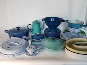 Vintage Cast Iron And Enamelware Lot