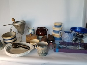 Vintage Kitchenware Lot - Strainer And Pottery