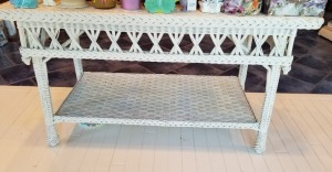 Antique Wicker Library Table - White