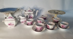 Antique Transferware And Compote Lot - English