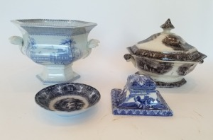 Antique Transferware Tureen And Inkwell Lot