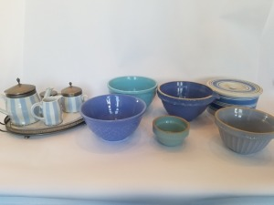 Antique Stoneware Mixing Bowl And Tea set Lot