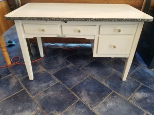 Antique Sellers Hoosier Kitchen Work Table - White