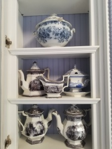 Antique Flow Blue And  Mulberry Transferware lot - Teapot/Tureen