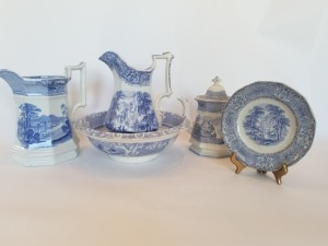 Antique Blue And White Pitchers And Bowl Lot