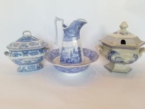 Antique Pitcher,  Bowl, And Tureen  Transferware Lot