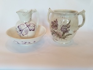Antique Ironstone Pitcher, Bowl And Chamber Pot