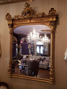 "Victorian Gilt Mirror - French Carved Compliments - 70"" x 52"""