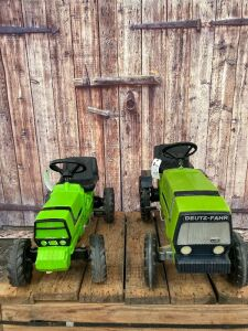(2)-Unknown Maker/Rolly Toys plastic Deutz MFWD pedal tractors