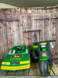 (2)-Ertl/Fun Kart (?) mostly plastic John Deere pedal vehicles