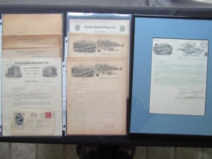 7 Rock Island Correspondence Letters with Company Letterhead and 1 Framed Huber Correspondence Letter