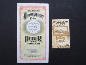 Huber Junior Thresher Insurance Policy and Pamphlet (2)