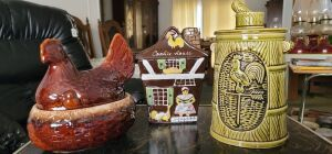 Rooster, Hen, and Cookie house Cookie Jars