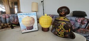 Vintage Turtle and 2 Hot Air Balloon Cookie Jars. One NIB. See photos
