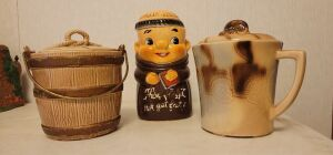 Vintage Cookie Monk cookie jar Thou shall not get fat cookie jar jolly monk rare, McCoy Coffee cup and more see photos