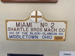 Shartle Bros Mach. Co. Cast Iron Plate