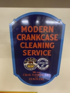 Calol and Zerolene Modern Crankcase Cleaning Service Sign