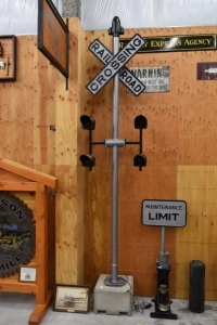 Vintage Railroad Crossing Sign with Lights