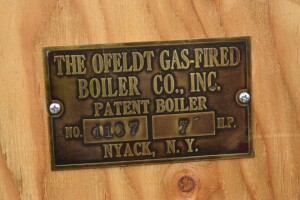 Ofeldt Gas-Fired Boiler Co. Brass Tag