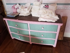 Wicker Dresser With Contents
