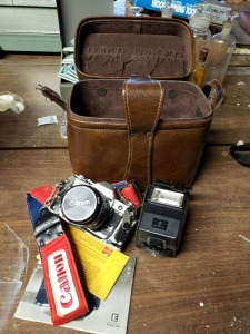 Canon AE- 1 Camera Lens And Leather Case