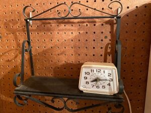 Wall shelf and small electric clock