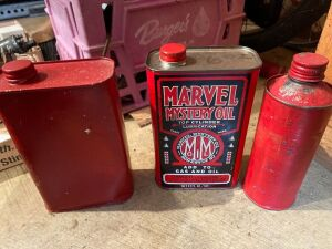 Marvel Mystery Oil and 2 other cans