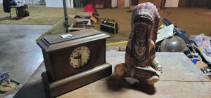 Misc lot. Indian and Sessions United mantle clock