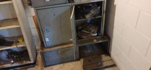Bottom metal cabinets with contents  full of fishing reels