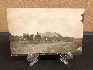 Gas Traction Big 4 tractor and wagons postcard