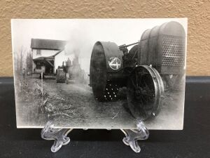 Gas Traction tractor and Geiser steam engine house moving postcard