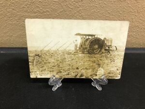 Gas Traction Big 4 with plow postcard
