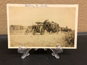 12-25 IHC Mogul with threshing  machine postcard
