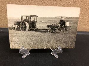 Minneapolis tractor pulling wagon postcard