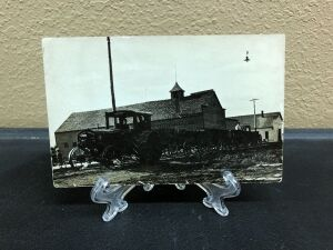 Minneapolis tractor pulling wagons postcard