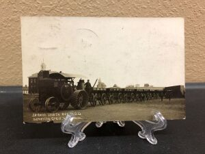 Hart Parr 30-60 tractor towing wagons postcard