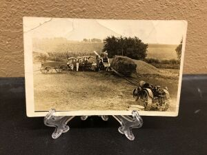 Titan 10-20 belted to threshing machine postcard