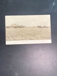 Vintage Threshing Scene Postcard