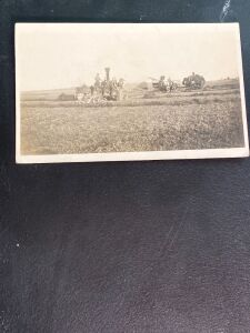 Baling with Traction Engine Postcard