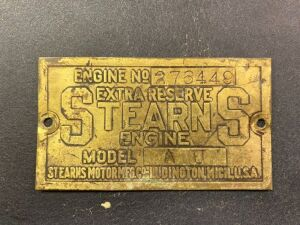 Stearns Engine serial plate